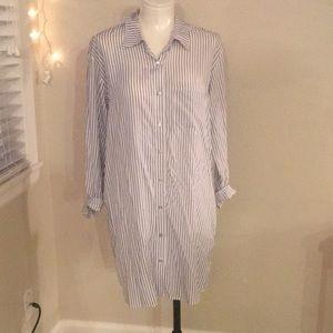 Blue and White Striped Shirt Dress